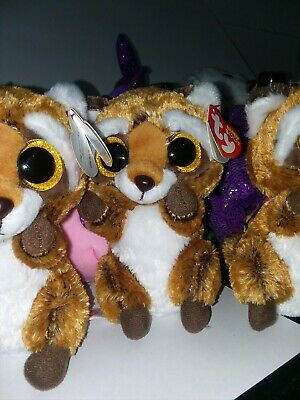 6 inch - MWMTs Boo Toy RUSTY the Raccoon TY Beanie Boos Glitter Eyes