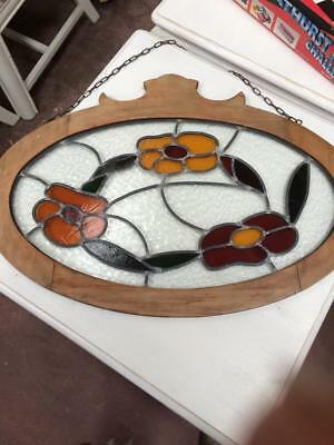Beautiful Antique Vintage Framed Leadlight Glass Window Panel To Hang On A Wall