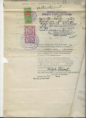 1935 Lithuanian Document Revenue Stamps  ab