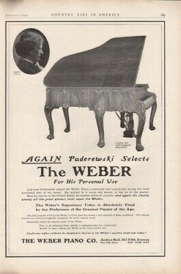 1909 Weber Music Piano Instrument Classical Concert Ad8145
