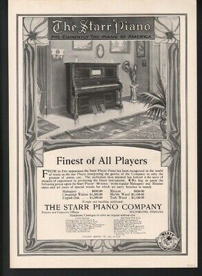 1909 Starr Piano Grand Music Dance Richmond Indiana Tone Key Sound Note  A22574