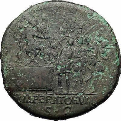 TRAJAN Addresses SOLDIERS 114AD Authentic Ancient Sestertius Roman Coin i73535