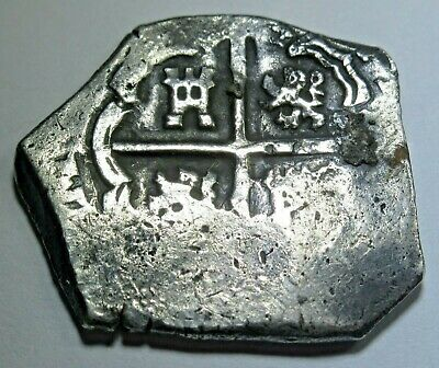 1600s Spanish Silver 2 Reales Cob Piece of 8 Real Colonial Pirate Treasure Coin