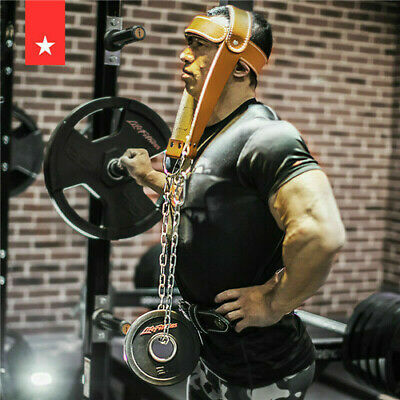 Head Harness Neck Weight Lifting Training Leather Belt with Chain