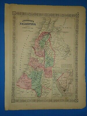 Vintage 1868 PALESTINE Map Old Antique Original Johnson's Atlas