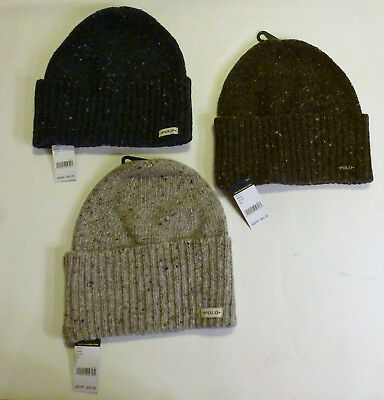 POLO RALPH LAUREN Fold Over Knit Wool Alpaca Hat Winter Beanie Blue Brown  Gray f792891a85c4