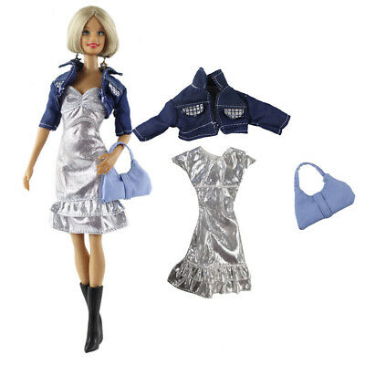 1set Fashion Silver Dress+Short Jacket with a Purse for 1/6 Girl Dolls