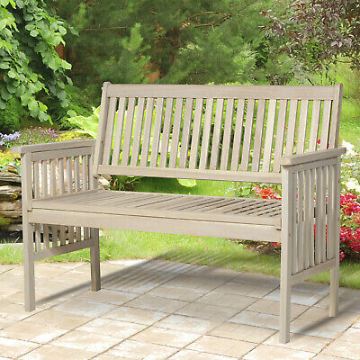 Classic Two Seater Garden Bench Acacia Wood Armrest Outdoor