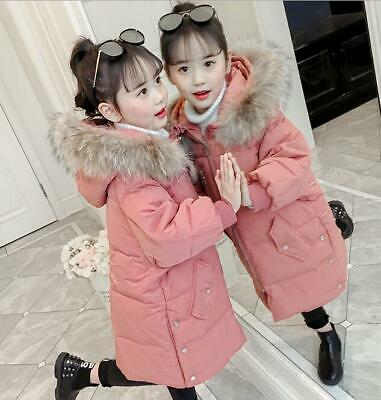 Girls Kids Padded Coat Winter Jacket Puffer Fur Hooded Long Parka Snowsuits