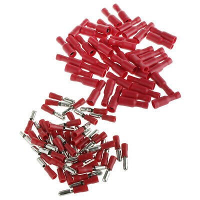 100x Insulated Crimp Terminals Butt Ring Spade Electrical Wire Connector Red