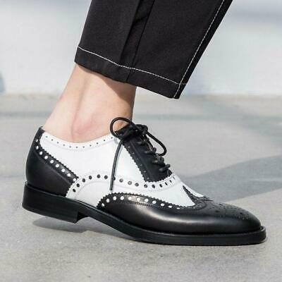 Women Ladies Fashion Leather Lace Up British Oxford Brogue Court Shoes loafer