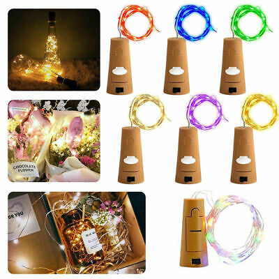 Wine Bottle Lights with Cork Battery Operated LED Silver Wire Fairy String Light