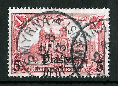 TURKEY GERMAN OFFICES 1905-1913 Used 5 Pia on 1 M Michel #44 CV €40 VF
