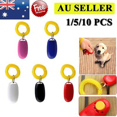 Dog Pet Click Clicker Training Obedience Agility Trainer Aid Wrist Strap QE