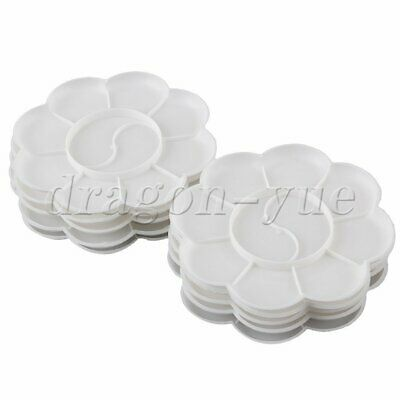 10pcs White Plastic 10 Compartments Watercolor Paint Tray Mixing Palette