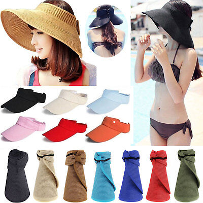 Womens Summer Straw Roll Up Foldable Beach Travel Wide Brim Golf Hat Visor  Caps a87fc400adc3