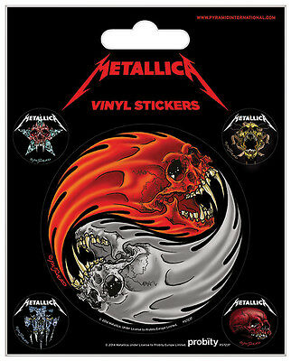 Metallica Aufkleber Set / Vinyl Sticker Set # 28 Yin Yang Skulls