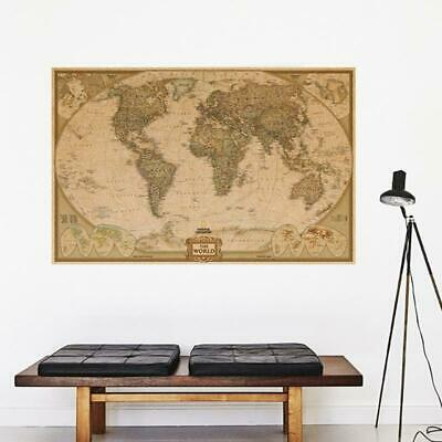 Retro Vintage Globe Old World Map Matte Antique Paper Poster Wall Home Decor