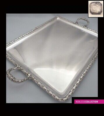 LARGE ANTIQUE 1880s FRENCH STERLING SILVER PLATTER SERVING TRAY 21.85in. 2386g
