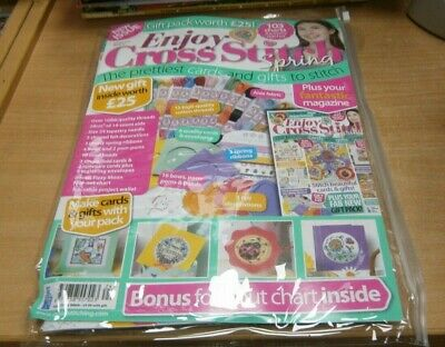 Enjoy Cross Stitch magazine #21 SPRING 2019 + Threads, Aida, Needle, Ribbon, Car