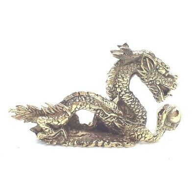Vintage Brass Chinese Dragon Figurine Statue Guan Feng Shui Decor