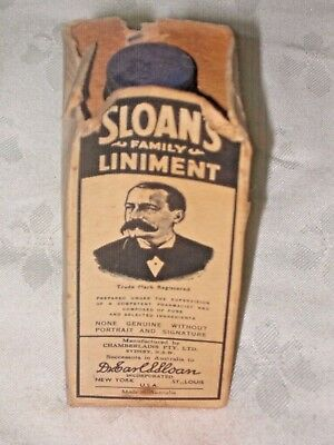 Old Packaged Sloan's Family Liniment 2 1/2 Floz Australian made Elixir Bottle