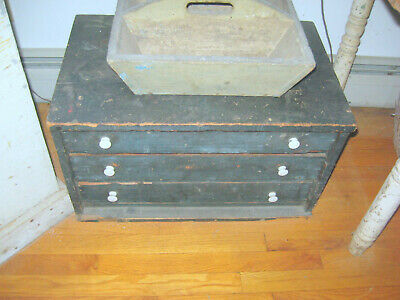 Best Antique Apothecary Chest Best Form, Excellent Old Paint Aafa Nr