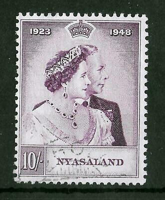 NYASALAND 1948 Used Royal Silver Wedding  10/- SG #162