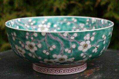 Fine Antique Chinese Green Prunus Handpainted Bowl - with 6 character mark
