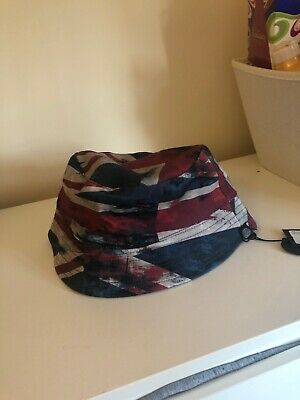 b14e5630789 PRETTY GREEN LIAM Gallagher Union Jack and navy reversible bucket ...