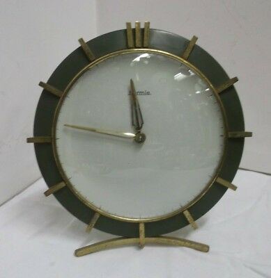 1950s 1960s Mantel Clock Table Clock Hermle Mechanical Brass Watch 50s 60s Clock