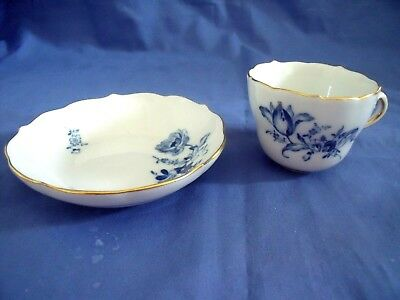 Antique Meissen Cup & Saucer Blue & White Flowers-Crossed Swords Mark-Fine Shape