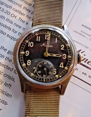 Rare Vintage 1930's Military Minerva DH Wehrmacht WW2 34mm 15j Cal'12 Running