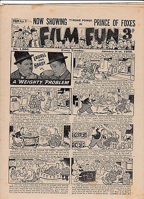 """1950 EDITION No 1566 OF WEEKLY COMIC """"FILM FUN"""" * LAUREL & HARDY * GEORGE FORMBY"""