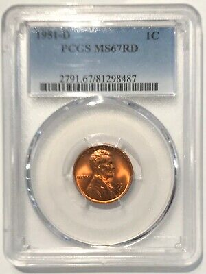 1951-D Lincoln Cent PCGS MS67 ~ RED Wheat 1c (81298487)