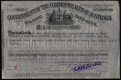1936 GOVERNMENT OF THE COMMONWEALTH OF AUSTRLIA 3% LOAN £2.435 STOCK Certificate