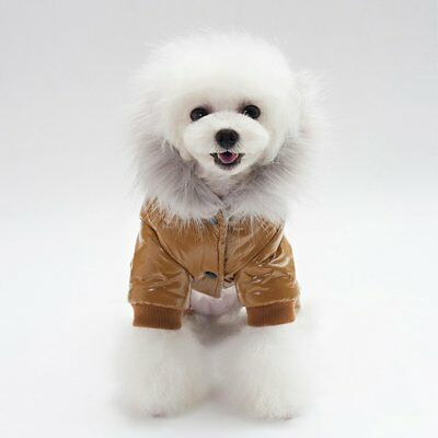 Dog Clothes Cotton Padded Hooded Leather Jacket Four Legs Pet Dog Winter Coat RT