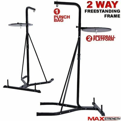 MAXSTRENGTH 2 Way Free Standing Boxing Punch Bag Stand Heavy Duty Hanging Frame