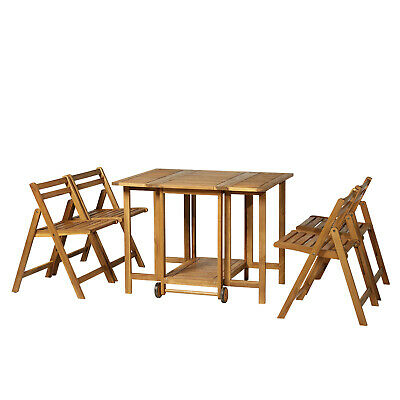 5Pcs Acacia Wood Dining Set Expandable Table Folding Chairs Outdoor Garden