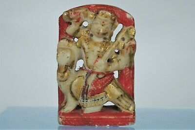 Fabulous Antique Indian Hand-painted and Gilt Handcarved Marble Sculpture
