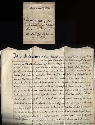 1810 REVEREND JAMES HUTCHINSON settlement £100 invested £5 % Bank Annuities