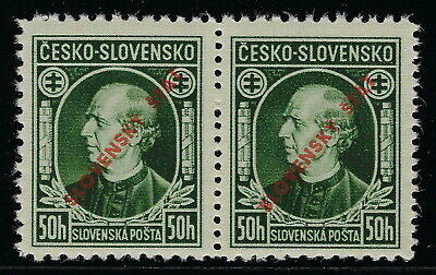 Slovakia WWII 1939 Ovpt. 50h Hlinka Mixed Perf Variants C13 & C2 Genuine VF**