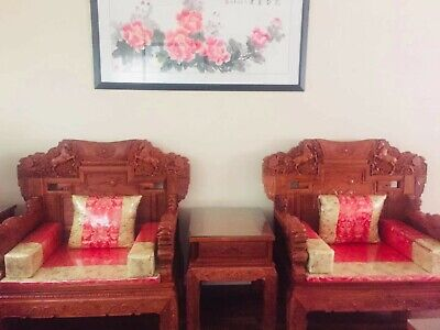 Traditional, Hand-carved, Mahogany, Oriental Living Room Set