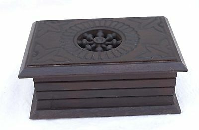 French Cut Carved Wood Jewel Trinket Box Quimper