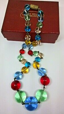 Vintage Jewellery Art Deco Style Clear Harlequin Glass Graduated Bead Necklace