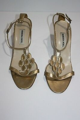 a4a70a267c48 Vanessa Noel Sandals Women s Gold Size 39 Ankle Strap Leather Kitten Heel  Slides