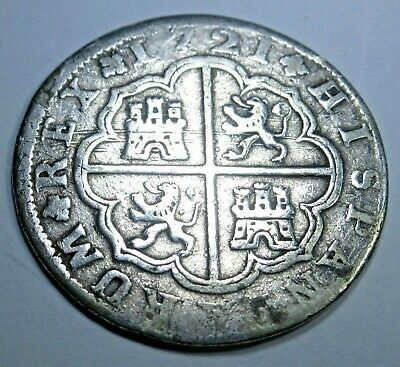 1721 Spanish Silver 2 Real Piece of 8 Reales Colonial Era Pirate Treasure Coin
