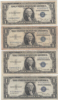 Lot Of (4) U.s. $1 One Dollar Silver Certificates 1957-A 1935-E 1935-G 1935-D