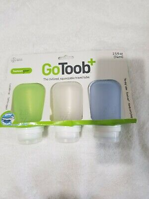 HumanGear GoToob Squeezable Travel Toob; 2.5 Oz 3-Pack; Carry-On Approved; New