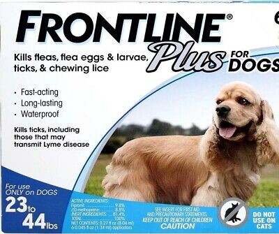 Frontline Plus Flea and Tick for Dogs - Medium 23-44 lbs NEW Single Sealed